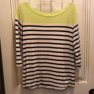 3/4 sleeve block striped shirt